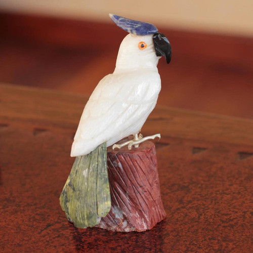 Gemstone Bird Sculpture Calcite Hand Carved in Peru 'Perky Cockatoo'