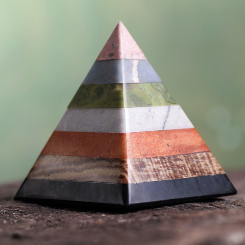 Hand Crafted Andean Gemstone Sculpture 'Energy of the Pyramid'