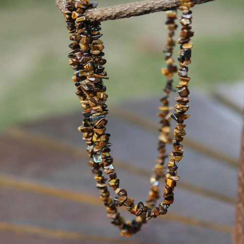 Artisan Crafted Brazilian Tiger's Eye Beaded Long Necklace 'Wonders'