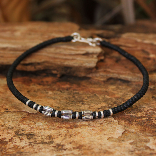 Hand Crafted Silver Braided Bracelet 'Hill Tribe Smile'