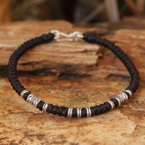 Handmade Silver Braided Bracelet from Thailand 'Hill Tribe Heritage'
