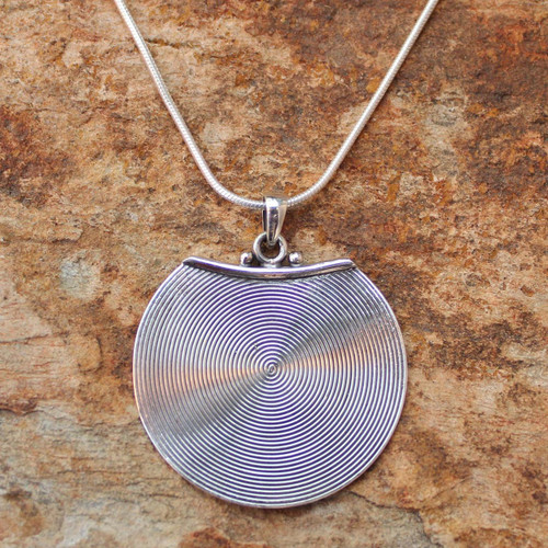 Handcrafted Modern Sterling Silver Pendant Necklace 'Hypnotic Moon'