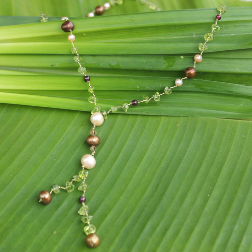 Pearl and Peridot Y Necklace 'Nature's Melody'