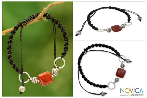 Sterling Silver Shambhala-style Onyx Bracelet from India 'Pure Happiness'