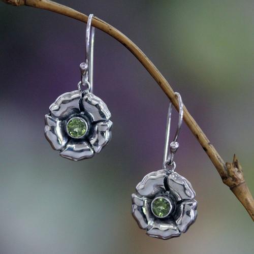 Sterling Silver and Peridot Dangle Earrings 'August Poppy'