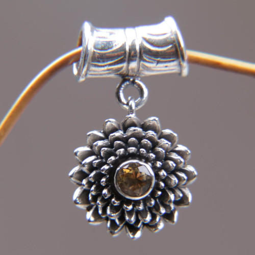 Sterling Silver and Citrine Floral Pendant 'November Chrysanthemum'