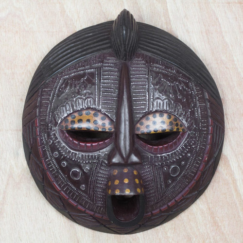 Fair Trade African Wood Mask 'Ewe Linguist'