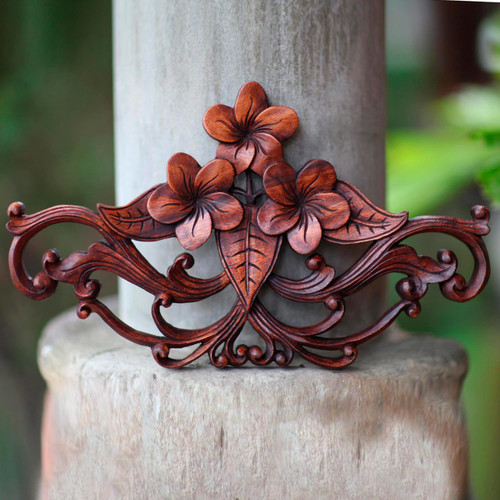 Handmade Floral Wood Relief Panel from Indonesia 'Frangipani Garland'