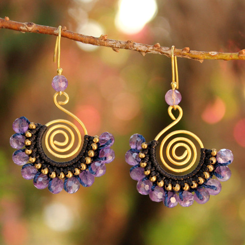 24K Gold Plated Brass and Amethyst Dangle Earrings 'Lilac Kiss'