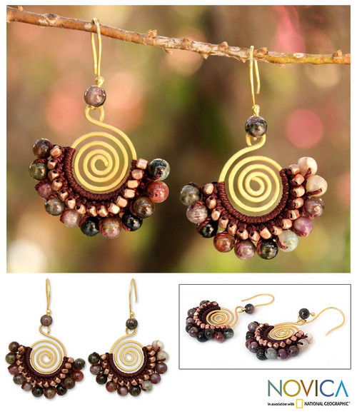 Tourmaline and Brass Bead Dangle Earrings 'Candy Kiss'