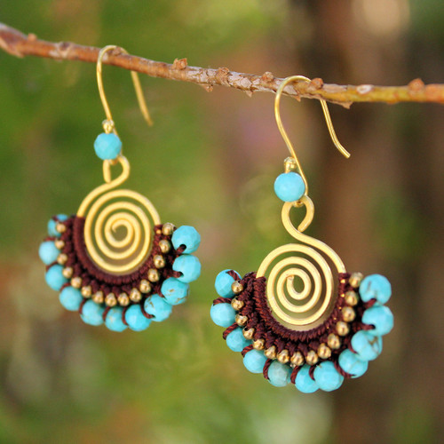 Brass and Turquoise Colored Bead Dangle Earrings 'Sky Kiss'