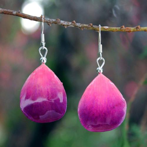 Orchid Petal Dangle Earrings 'Chiang Mai Kiss'