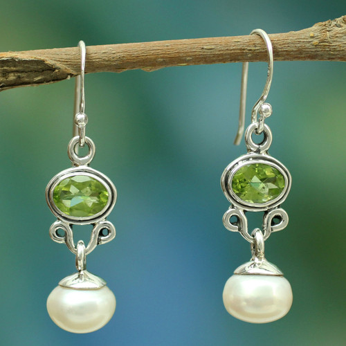 Sterling Silver Jewelry Pearl and Peridot Earrings 'Verdant Light'