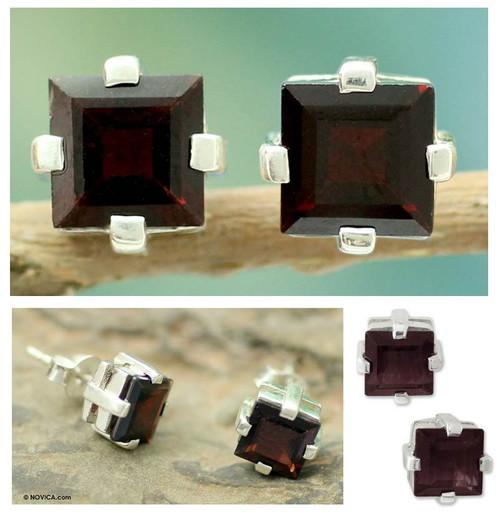 Garnet Studs Artisan Crafted Sterling Silver Earrings 'Crimson Charm'