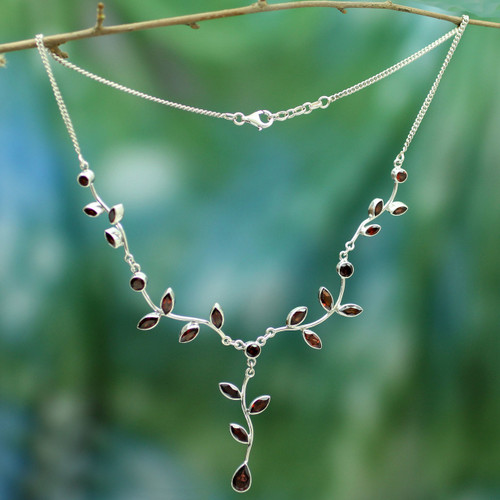 Fair Trade Women's Garnet and Sterling Silver Y Necklace  'Parwati's Passion'
