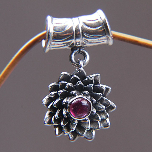 Handmade Floral Sterling Silver and Ruby Pendant 'July Water Lily'