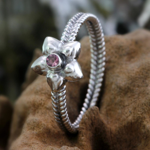 Pink Tourmaline and Sterling Silver Ring 'October Marigold'
