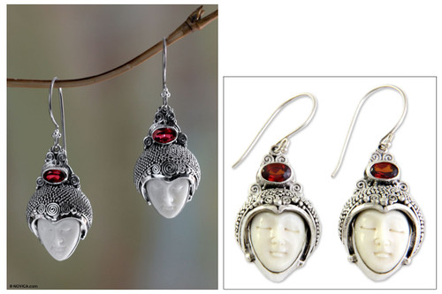 Sterling Silver and Garnet Dangle Earrings 'Royal Romance'