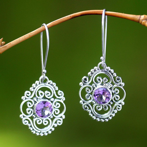 Amethyst Dangle Earrings from Indonesia 'Gianyar Muse'