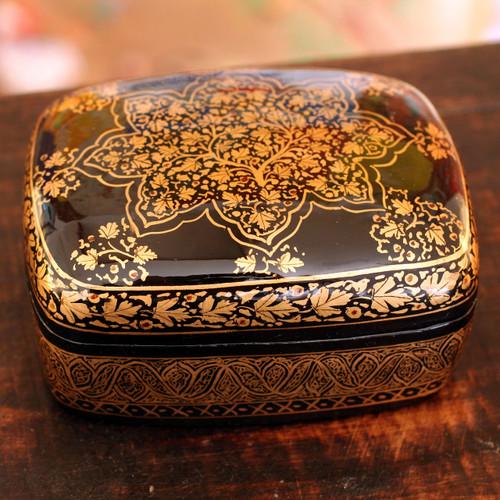 Unique Floral Wood Papier Mache Metallic Decorative Box 'Golden Splendor'
