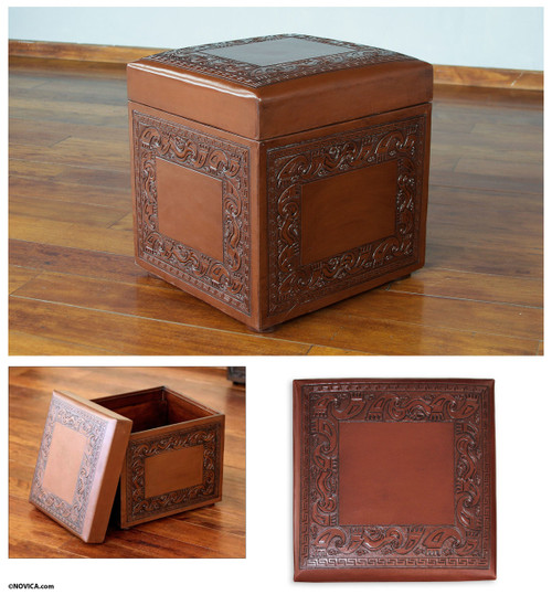 Artisan Crafted Traditional Wood Leather Ottoman 'Flight of the Condor'