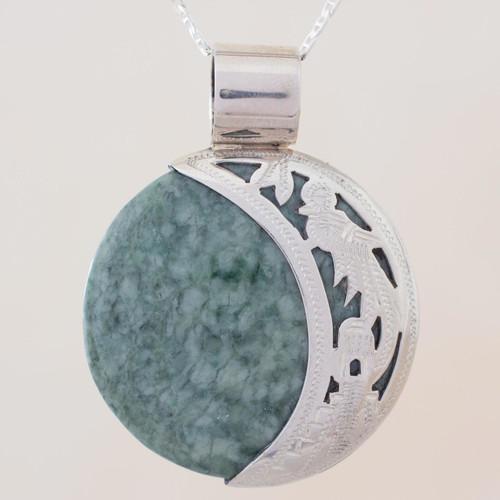 Sun & Moon Sterling Silver Green Black Jade Pendant Necklace 'Quetzal Eclipse'
