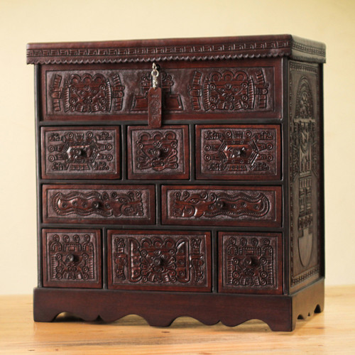 Colonial Wood Leather Jewelry Box and Decorative Chest 'Ancient Legacy'