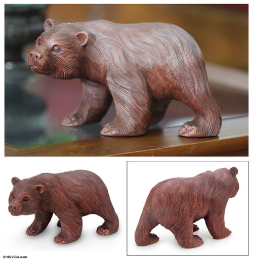 Wood Sculpture from Indonesia 'Curious Brown Bear'