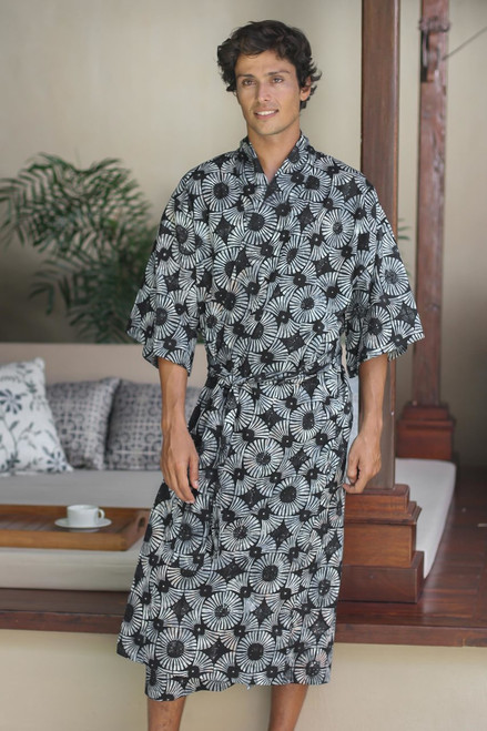 Men's Batik Cotton Robe 'Midnight Fireworks'