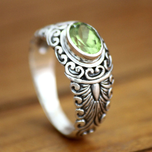 Peridot and Sterling Silver Ring 'Bali Heritage'
