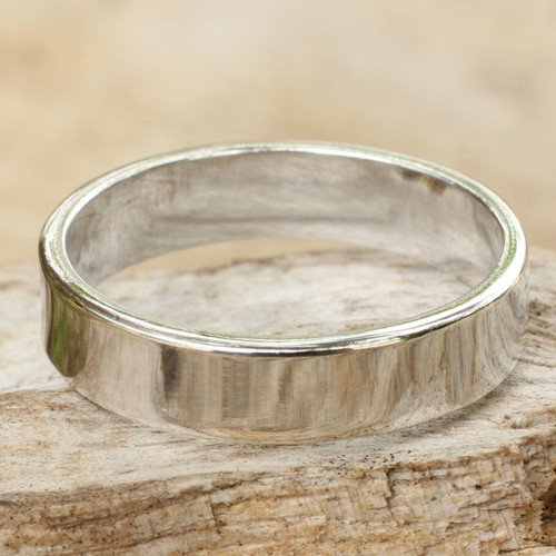 Men's Sterling Silver Band Ring 'Trust the Moon'