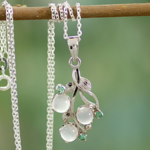 Moonstone and Emerald Necklace on Sterling Silver 'Moon Enchantment'