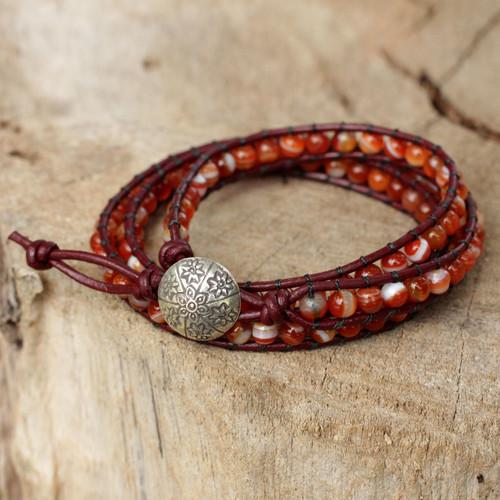 Hand Made Carnelian Wrap Bracelet 'Forest Flower'