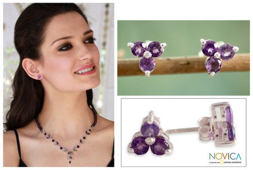 Amethyst Stud Earrings Artisan Crafted Jewelry 'Charming Trio'