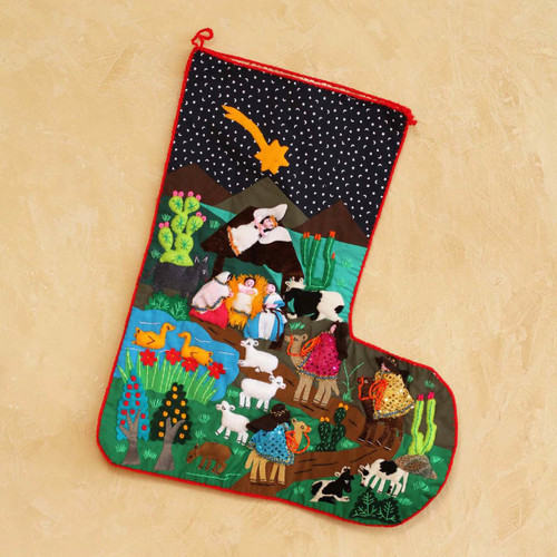 Applique Christmas stocking 'The Arrival of the Magi'