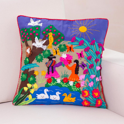Handmade Folk Art Cotton Patterned Cushion Cover 'Mother's Day'
