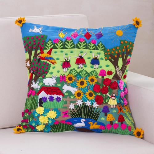 Fair Trade Folk Art Patterned Applique Cushion Cover 'Spring Fun'