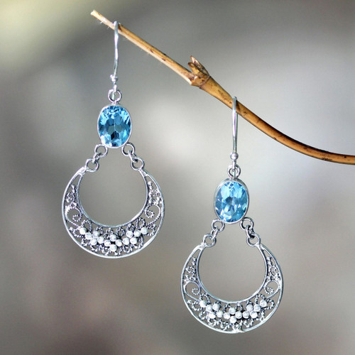 Unique Sterling Silver and Blue Topaz Dangle Earrings 'Sumatra Moons'
