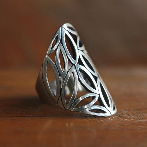 Sterling silver cocktail ring 'Bamboo Breeze'