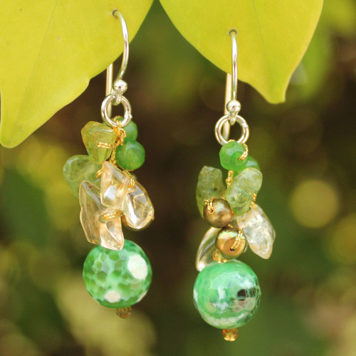Handcrafted Thai Dangle Earrings 'Verdant Love'