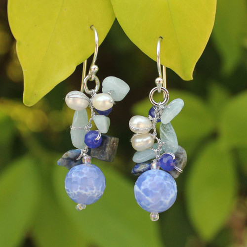 Handmade Agate and Aquamarine Beaded Earrings 'Azure Love'
