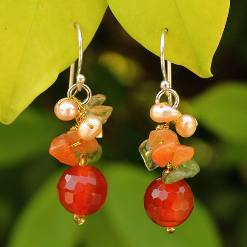 Handcrafted Beaded Quartz Earrings 'Radiant Love'