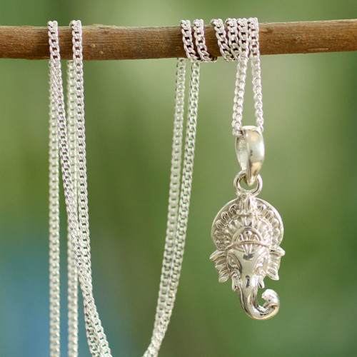 Hand Crafted Sterling Silver Hindu Pendant  Necklace 'Regal Ganesha'