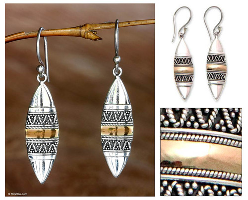 Hand Made Sterling Silver and 18k Gold Earrings 'Golden Bali Surfboards'