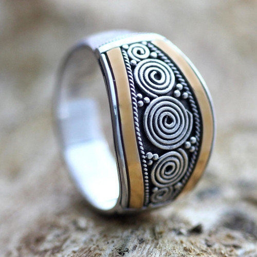 Sterling Silver and Gold Accent Ring 'Celuk Legend'