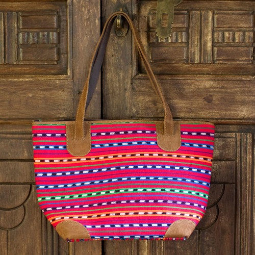 Hand Made Cotton and Leather Tote Bag 'Scarlet Maya'