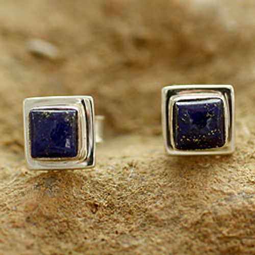 Lapis Lazuli Earrings Handmade Sterling Silver Jewelry India 'Hindu Galaxy'