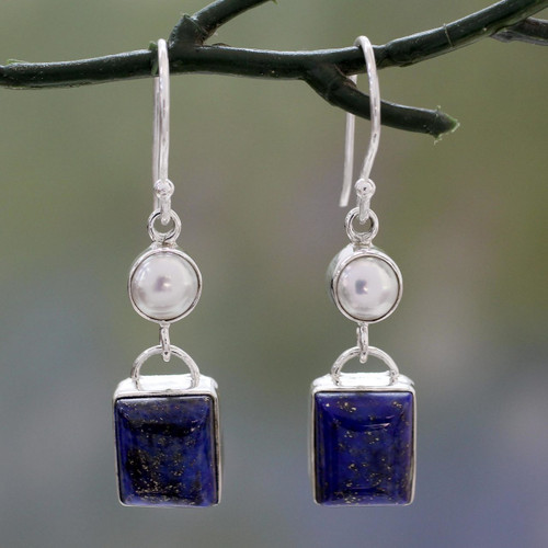 Silver Dangle Earrings with White Pearls and Lapis Lazuli 'Bangalore Glam'