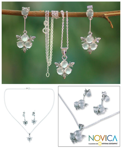 Moonstone and Sterling Silver Floral Jewelry Set 'Silver Clover'