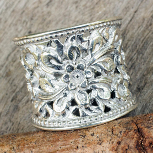 Floral Sterling Silver Band Ring from Thailand 'Mae Ping Jasmine'